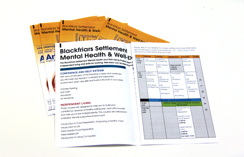 Blackfriars Settlement Mental Health and Wellbeing Project Leaflet design